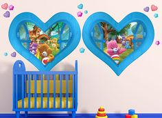 Your Care Bear friends will be there for you when you live next door to them. #wallah #wallahrooms #pickyourneighbor #carebear #nursery #baby #kid #bedroom