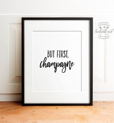 But first champagne Bar cart art PRINTABLE art by TheCrownPrints