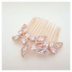 Rose Gold Bridal hair comb, Rose Gold Wedding headpiece, Bridal hair... ❤ liked…