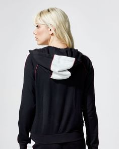 Relaxed hoodie with retro piping and black panels. Also available inIvory/Black/Wine andWine/Black/White. Features White contrast panels on sleeves and hood Wine piping along seams Patterned Leggings, Blue Leggings, White Wine, Black And White, Gym Style, Interstellar, S Models, Workout Wear, Black Hoodie