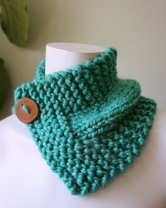 Aquamarine Knitted Cowl with Button Closure
