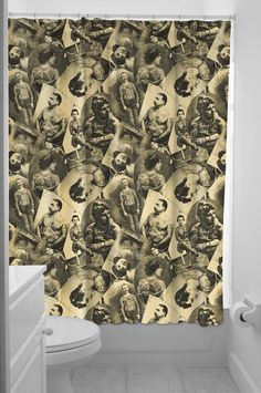 SOURPUSS TATTOOED OLD TIMERS SHOWER CURTAIN This great Sourpuss shower curtain reminds us of a time when only those in the Military or Outlaws were getting tattooed. This polyester shower curtain comes with rings included. $19.00 #sourpuss #sourpussclothing #showercurtain #bathroom #tattoo