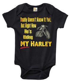 Harley Davidson Motorcycle Baby Shower Invitation. Daddyu0027s Riding My Harley  One Piece Baby Bodysuit