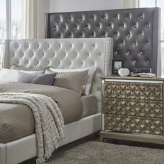 Aurora Faux Leather Crystal Tufted Nailhead Wingback Headboard by iNSPIRE Q Bold (Full Headboard - Silver Grey), Gray Full Headboard, Queen Headboard, Headboards For Beds, Headboard Makeover, Modern Headboard, Headboard Ideas, Leather Headboard, Wingback Headboard, Sofa Bed