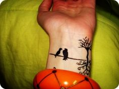 Let's reinvent what the horizontal-line scar means. Starting with two birds on a wire. #mastectomy #tattoo idea. [p-ink.org]