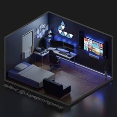 Beautiful room for late night gaming How many hours do you spend gaming per day? Gamer Bedroom, Bedroom Setup, Room Design Bedroom, Room Ideas Bedroom, Computer Gaming Room, Gaming Room Setup, Gaming Rooms, Small Game Rooms, Tech Room