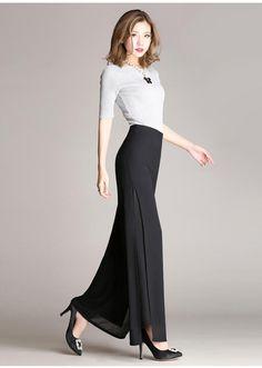 Black Career Wide Leg Trousers Loose Pants New Summer Women s Vintage High  Waist Chiffon Pants Spodnie f363b2611c68