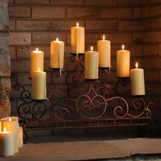 The Scrolled Copper Fireplace Candelabra adds a mysterious and rustic charm to any home. #Kirklands #fallretreat