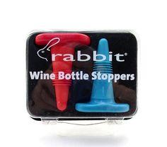 RABBIT WINE BOTTLE STOPPERS ~ RED & AQUA ~ SET OF 2 ~ NEW #Rabbit