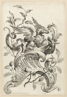 1745 ~ Winged Griffon on a Rocaille Bracket by Alexis Peyrotte .... from Premiere Partie Diverse Ornements .... Cooper Hewitt, Smithsonian Design Museum ....