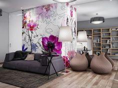 Living Room Interior Designs with Purple Flowers Wallpaper Murals Ideas
