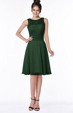Hunter Green Glamorous A-line Scoop Zip up Chiffon Sash Bridesmaid Dresses