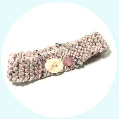 Pastel Pink Stretchy Hairband, Light Pink and Earth Toned Knitted Headband With Pearlescent Pink and White Buttons, Knit Hair…