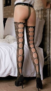Pantyhose 40 denier naked with processing fake ups, before the work is complete and behind appears to be closed from various buckles. Price € 22,40 http://www.calzeland.it/StoreArticolo.aspx?Codart=1101200012