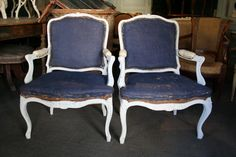 Pair of armchairs with #flat #backrest. #LouisXV #style. 20th century. For sale on Proantic by Galerie de la Madeleine.