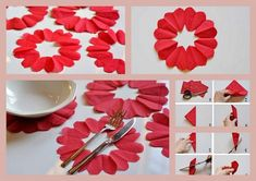 how to cut paper napkins to look like flowers on table