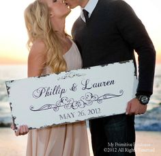 makes a nice anniversary gift:  Vintage SAVE THE DATE Sign Wedding Sign by MyPrimitiveBoutique, $65.00
