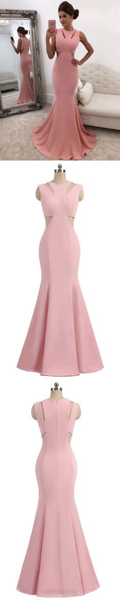 Mermaid Scoop Neck Silk-like Satin Sweep Train Ruffles Prom Dresses M1861