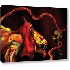 ArtWall Pyro Painter Shadow of the Beast Wrapped Canvas, Size: 14 x 18, Orange