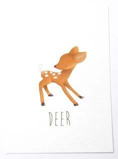 Deer  art print  A6 by NikkiDotti on Etsy, €7.50