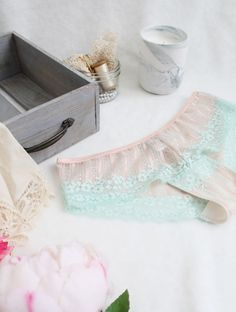 Peach 'Mint Julep' Sheer Lace Hipster Panties with