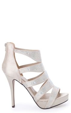 Open Toe Small Platform Heels with Rhinestones