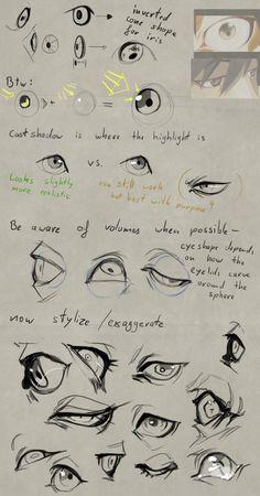Eye Drawing Tutorials, Sketches Tutorial, Digital Painting Tutorials, Eye Tutorial, Digital Art Tutorial, Drawing Techniques, Art Tutorials, Drawing Tips, Body Drawing