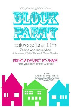 Block Party Invitation - Two Peas in a Bucket