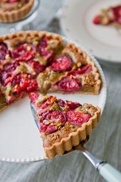Plum and pistachio Frangipane tart