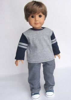 American Girl Boy Doll Clothes Boycut Jeans and by Minipparel - American Boy Doll, American Girl Crafts, American Doll Clothes, Boy Doll Clothes, Doll Clothes Patterns, Doll Patterns, Child Doll, Girl Dolls, 18 Inch Boy Doll