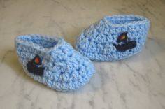 Crocheted Baby Booties, Light Blue with Sail Boats on Sides, Handmade Baby Shoes