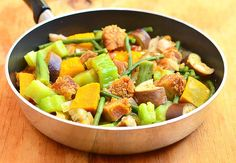 Pinakbet with lechon kawali-crispy pork belly added to a colorful slew of vegetables gives an extra dose of flavor and texture