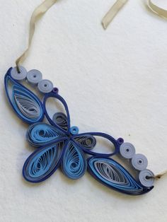Quilling blue necklace Art Deco Shades of blue by Leetilou on Etsy