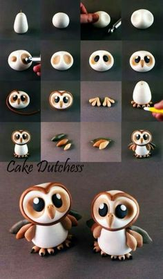 Cute owl cake topper or cupcake topper. Could be done in fondant, gum paste, or modeling chocolate! Great baby owl tutorial by cake dutchess how to make an owl tutorial! Cake Decorating Tutorials about my modelling work, all things are made with Cake Dutc Fondant Cake Toppers, Fondant Cakes, Fondant Bow, Fondant Flowers, Owl Cake Toppers, Cake Icing, Fondant Cake Decorations, Owl Decorations, Fondant Cake Designs