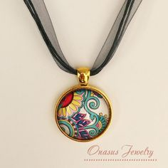 "Paisley Floral 1"" Round Glass Cabochon Pendant in Silver or Gold with Chain or Multi-strand Organza Necklace"