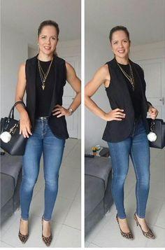 look de trabalho - estilo natural - colete de alfaiataria - colete de alfaiataria preto - colete preto - calça jeans e preto - scarpin animal print - estampa animal print - scarpin estampado - sapato animal print - scarpin de onça - sapato de onça
