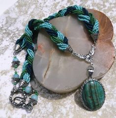 "Lovely Multi-Strand 26"" Necklace in Sea Colors With Chrysicolla Pendant  SOLD!"