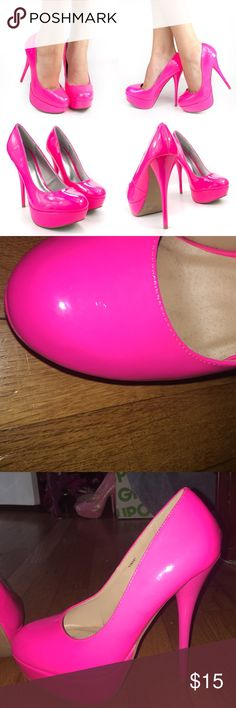 Hot pink heels Hot pink heels! Super cute Charlotte Russe Shoes Heels