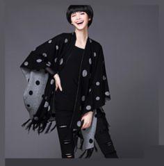 womens wool fringe sweater circle shawl fringe clothes for winter