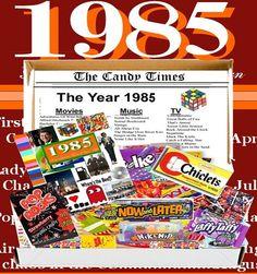 1983 Birthday Gift Basket Box Retro Nostalgic Candy From Childhood Birthday Gift Baskets, 30th Birthday Parties, Birthday Bash, Birthday Invitations, Birthday Ideas, Birthday Candy, Nostalgic Candy, 30th Party, Party Themes