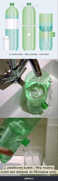 Jak filtrować wodę? - Z plastikowej butelki i filtra możesz zrobić tani dzbanek do filtrowania wody.