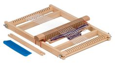 School Loom with 2 shuttles, comb, instructions and commenced weaving, weaving width 20cm