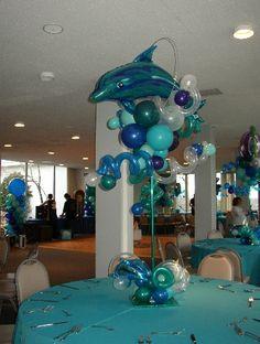 Dolphin Balloon Topiary for decorations Balloon Arrangements, Balloon Centerpieces, Centerpiece Decorations, Balloon Decorations, Dolphin Birthday Parties, Dolphin Party, 40th Birthday, Balloon Topiary, Balloon Columns