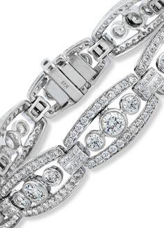 Vintage Art Deco Diamond Bracelet in White Gold, by Ritani