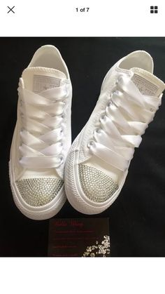 Wedding bridal customised converse, crystals, pearls charms, bling made to order Hochzeit Braut angepasst Converse Kristalle Perlen Charms Prom Shoes, Dress Shoes, Women's Shoes, Fall Shoes, Platform Shoes, Black Shoes, Shoes Sneakers, Bridal Converse, Converse For Wedding