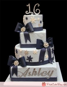 Click to enlarge Sweet 16 Winter Themed Cake