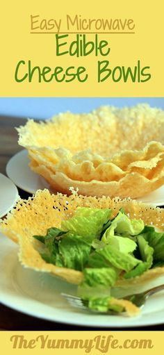 Easy Microwave Edible Cheese Bowls. These delicious, fancy-looking salad bowls are incredibly easy to make. Step-by-step photos show you how to make 6 Parmesan bowls in just 15 minutes. Always a WOW! Recipe at http://TheYummyLife.com