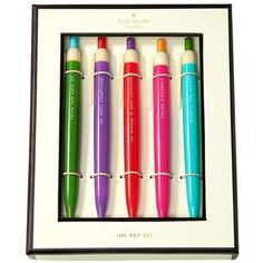 kate spade new york Assorted Pen Set - 5 Colored Pens ($20) ❤ liked on Polyvore featuring home, home decor, office accessories, school, writing notebook, pocket note book, kate spade, pocket pen and pocket notebook