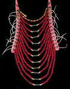 Nez Perce Style Necklace: dark red and matte black glass beads, solid brass beads, solid brass heishi beads, metal cones, and leather. Approximate size: L = 12 inches, W = 5-6 inches Native American Regalia, Native American Clothing, Native American Beading, Native American Fashion, Native American Art, Native Style, Native Art, American Indian Crafts, Collar Hippie