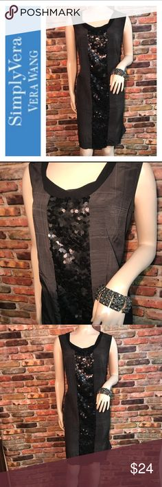 🌹Simply Vera Wang Sequin Satin Dress 🌹 🌹Selling a lovely Vera Wang Deess  🌹It's a Satin Sheath Charcoal Dark Grey Color 🌹It's a flattering dress 🌹Size 16  🌹Measurements 38 in Long / 21 1/2 armpit to armpit  20 1/2 in on waist & almost 23 in on hips  🌹Please check out my closet I have several dresses Simply Vera Vera Wang Dresses
